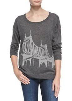 Eloisa Bridge-Pattern Knit Sweater   Eloisa Bridge-Pattern Knit Sweater