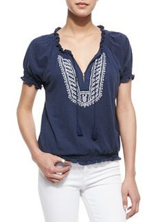 Harmony Embroidered Short-Sleeve Top   Harmony Embroidered Short-Sleeve Top