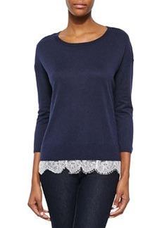 Hilano Lace-Hem Knit Sweater   Hilano Lace-Hem Knit Sweater