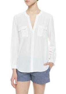 Iloani Long-Sleeve Silk Blouse   Iloani Long-Sleeve Silk Blouse