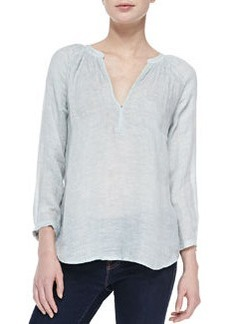 Indarra Linen Bishop-Sleeve Blouse   Indarra Linen Bishop-Sleeve Blouse