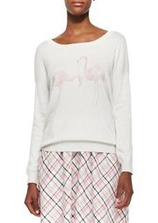 Jensine Boat-Neck Flamingo-Graphic Sweater   Jensine Boat-Neck Flamingo-Graphic Sweater