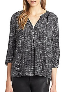 Joie Addie Silk Tweed-Print Blouse