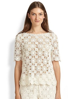 Joie Alizeh Engineered Cotton Crocheted Blouse