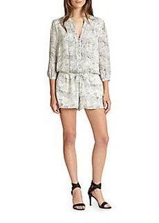 Joie Amara B Snake-Print Silk Short Jumpsuit
