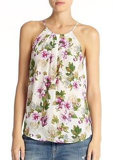 Joie Amarey Pleated Floral-Print Silk Tank
