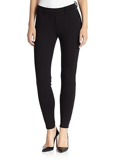 Joie Andra Leather-Trimmed Knit Skinny Pants