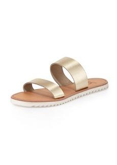 Joie Avalon Metallic Flat Sandal, White/Gold