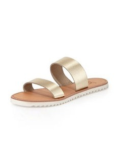 Joie Avalon Metallic Flat Sandal, White/Gold