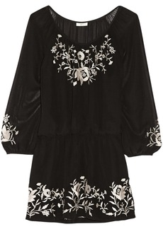 Joie Avanta embroidered silk-chiffon mini dress