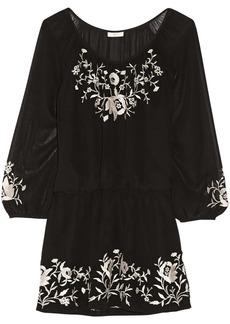 Joie Avanta embroidered silk-chiffon mini dress
