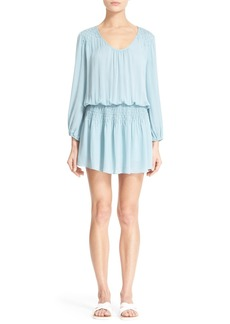 Joie 'Bain' Long Sleeve Smocked Silk Dress