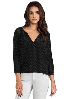 Joie Balisa Polka Dot Silk Blouse in Black