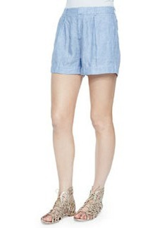 Joie Barbella Pleated Linen Shorts, Sunset Blue