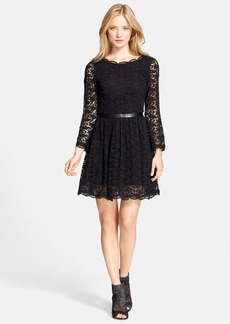 Joie 'Baronessa' Leather Detail Lace Fit & Flare Dress
