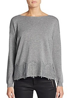 Joie Bastienne Lace-Paneled Wool & Cashmere Sweater
