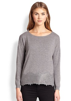 Joie Bastienne Lace-Paneled Wool/Cashmere Sweater