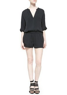 Joie Benoite Pintucked Silk Short Jumpsuit