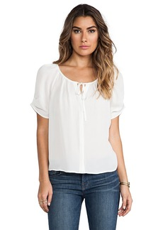 Joie Berkeley Matte Silk Blouse in White