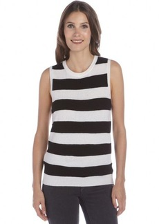 Joie black and white striped wool and cashmere knit sleeveless sweater