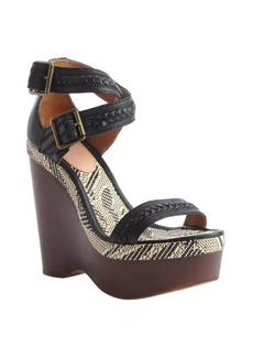 Joie black leather and jute 'Conchita' wedge sandals