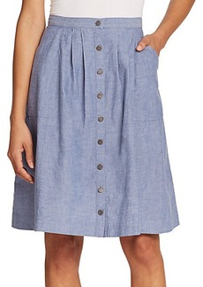 Joie Brinker Button-Front Chambray Skirt