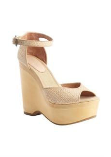Joie brown raffia 'Weber' peep toe anklestrap wedge pumps