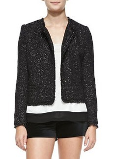 Joie Calimesa Shimmery Tweed Fringe Jacket