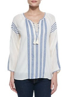 Joie Calonice Embroidered Long-Sleeve Top