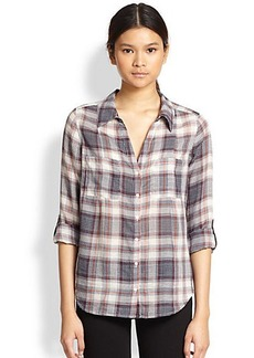 Joie Cartel Plaid Cotton  Blouse