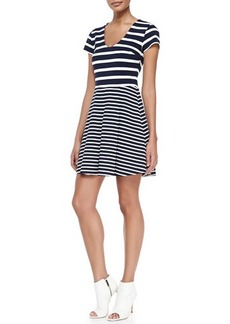 Joie Chikara Striped Short-Sleeve A-Line Dress