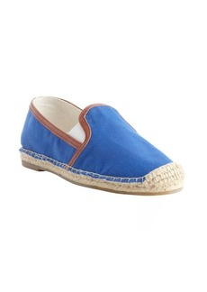 Joie cobalt canvas 'Adrien' raffia embellished loafers