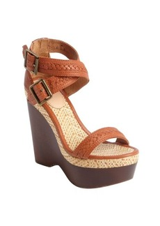 Joie cognac leather and jute 'Conchita' wedge sandals