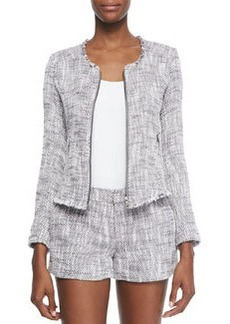 Joie Collis Fringe-Trim Tweed Jacket