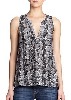 Joie Corette Snake-Print Silk Sheer-Back Top