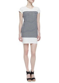 Joie Courtina Striped-Jersey Short-Sleeve Dress, Porcelain/Dark Navy