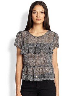 Joie Daeja Dotted Silk Ruffled-Tier Top