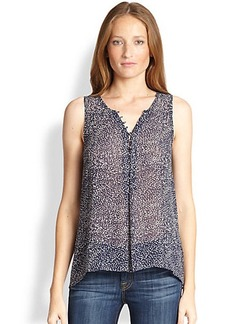 Joie Daija Sheer Dot-Print Silk Sleeveless Blouse