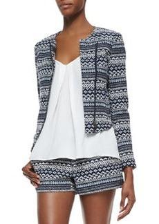Joie Darnel Striped Woven Tweed Jacket