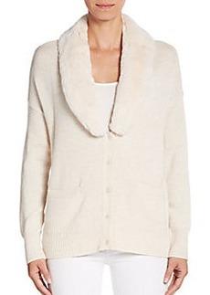 Joie Daynari Fur-Collar Wool & Cashmere Cardigan