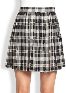 Joie Deron Plaid Silk Pleated Skirt