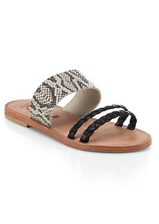 Joie Diani Braided & Snake-Embossed Leather Sandals
