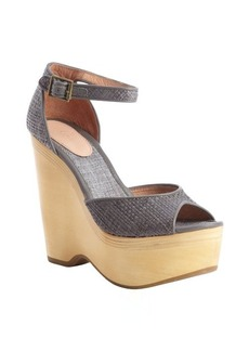Joie dove grey raffia 'Weber' peep toe anklestrap wedge pumps