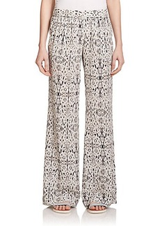 Joie Egro Printed Silk Wide-Leg Pants