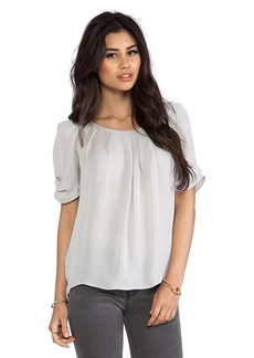 Joie Eleanor Matte Silk Top in Light Gray