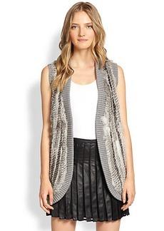 Joie Ellera Rabbit Fur-Paneled Wool Vest