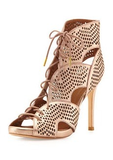 Joie Elvie Metallic Lace-Up Sandal, Rose Gold