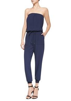 Joie Fairley Strapless Blouson Crepe Jumpsuit  Fairley Strapless Blouson Crepe Jumpsuit