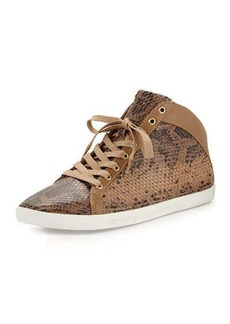 Joie Felton Python-Print Sneaker, Putty Buff