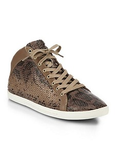 Joie Felton Snake-Embossed Leather High-Top Sneakers
